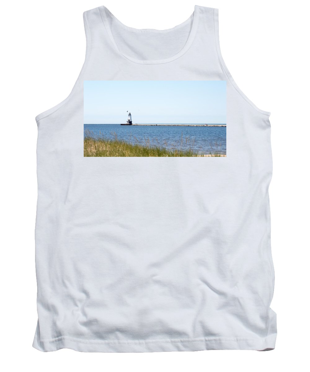 Ludington Tank Top featuring the photograph Flags In The Wind by Linda Kerkau