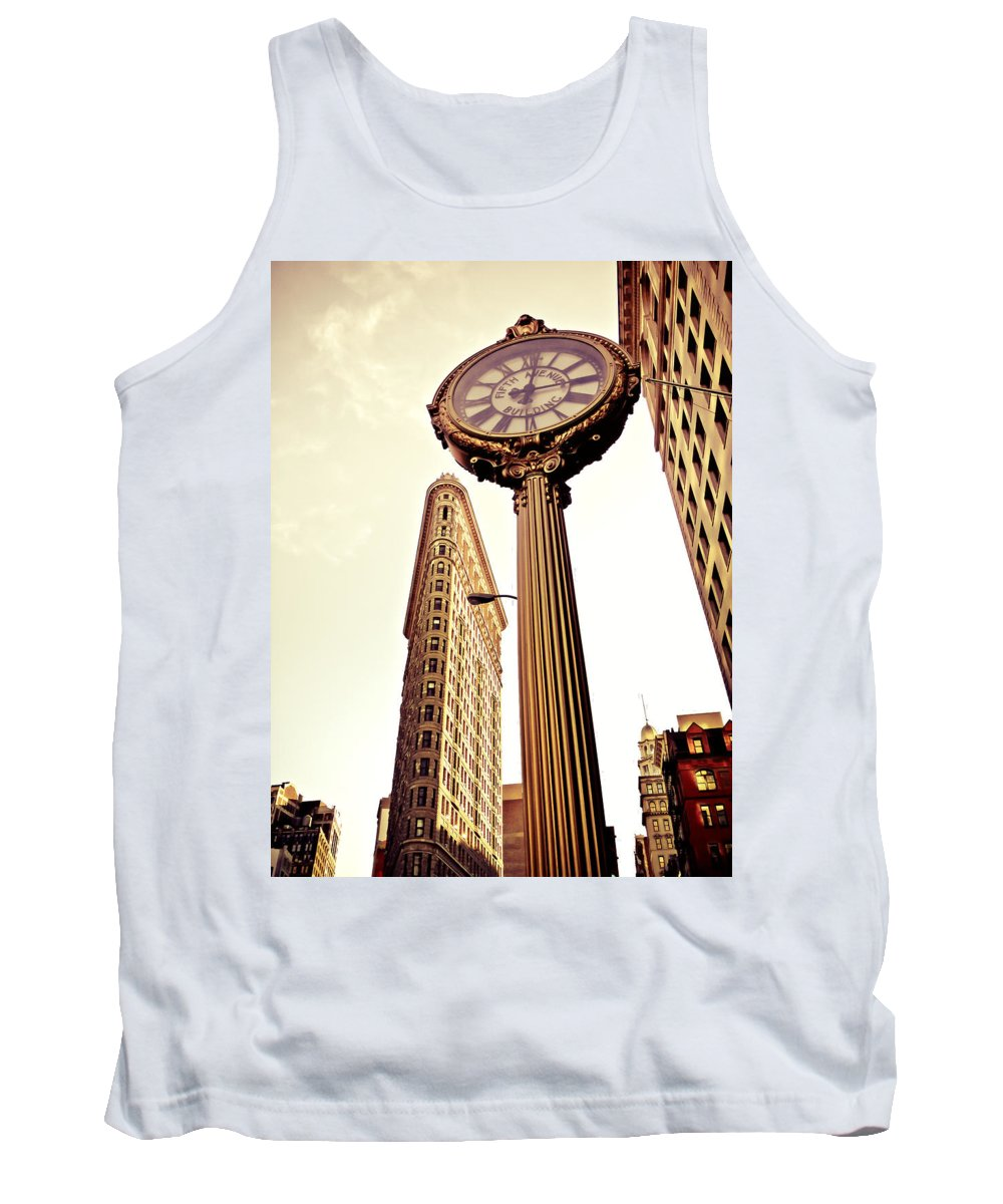 New York City Tank Top featuring the photograph Flatiron Building And 5th Avenue Clock by Vivienne Gucwa
