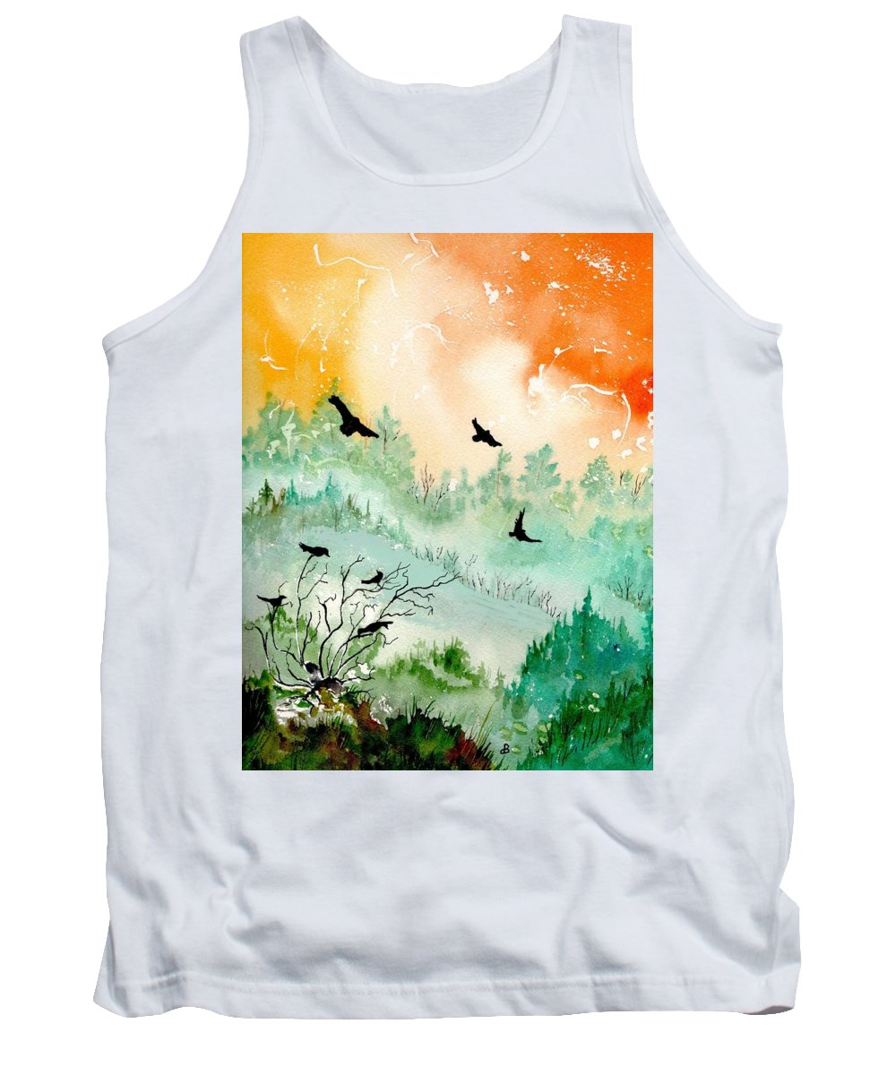 Watercolor Tank Top featuring the painting Flight by Brenda Owen