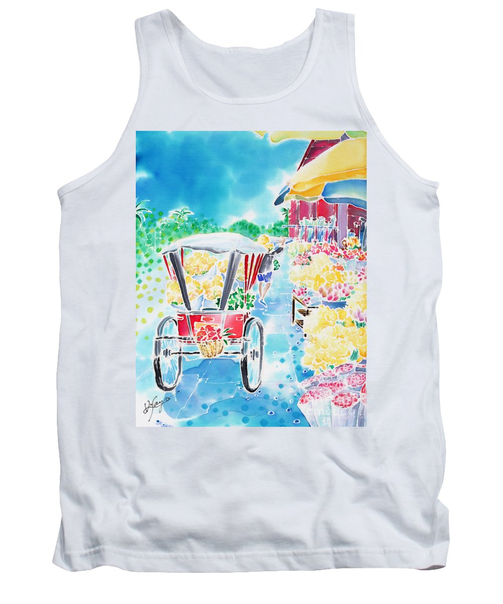 Thailand Tank Top featuring the painting Flower Market In Chiang Mai by Hisayo Ohta