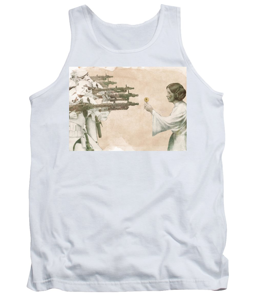 Peace Tank Top featuring the drawing Flowers for Alderaan by Eric Fan