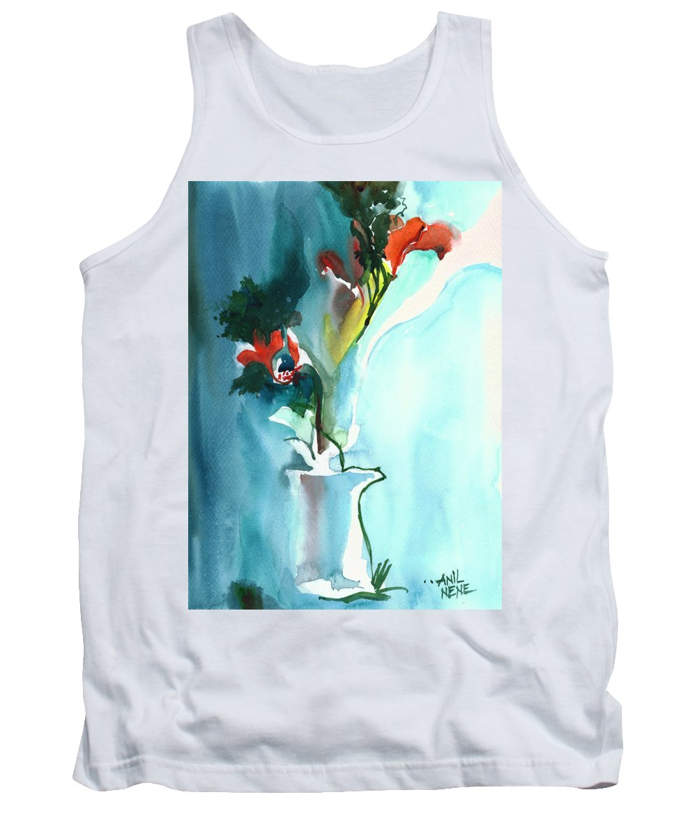 Nature Tank Top featuring the painting Flowers in Vase by Anil Nene