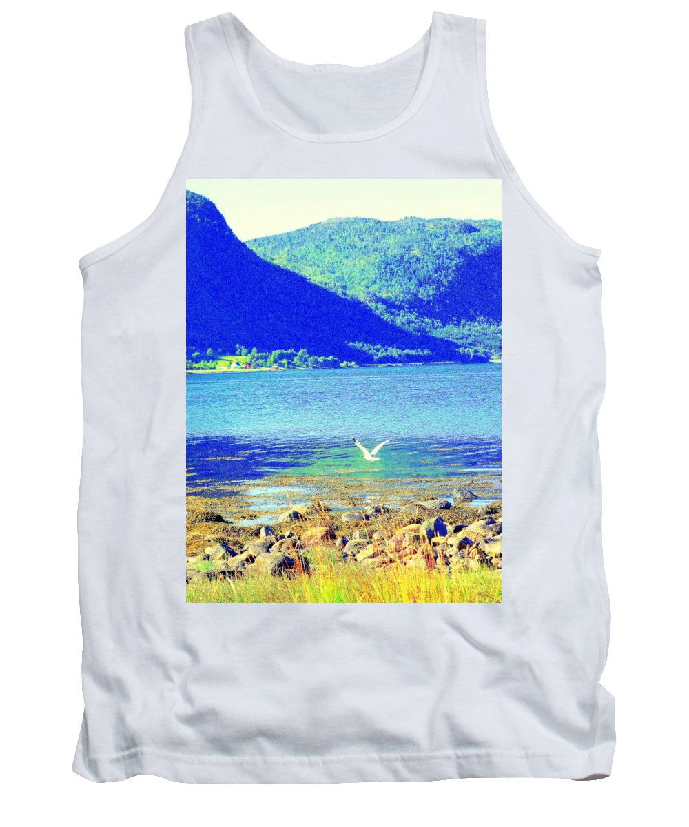Landscape Tank Top featuring the photograph Seagull Flying Low, Mountains Standing Tall by Hilde Widerberg