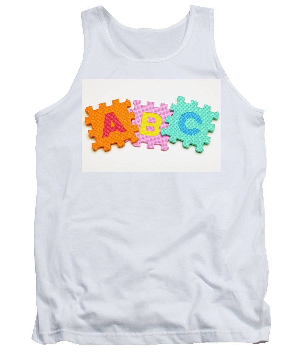 Alphabet Tank Top featuring the photograph Foam Alphabet Shapes by Darren Greenwood