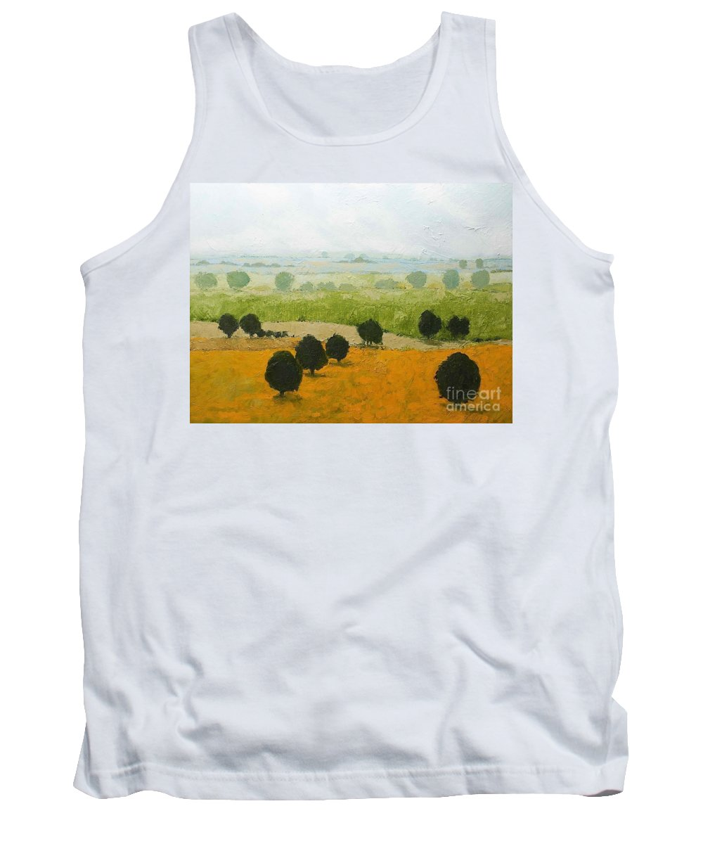 Landscape Tank Top featuring the painting Fog Lifting Fast by Allan P Friedlander