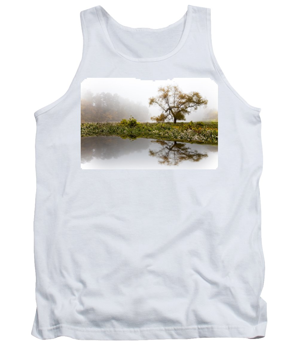 Appalachia Tank Top featuring the photograph Foggy Reflections Landscape by Debra and Dave Vanderlaan