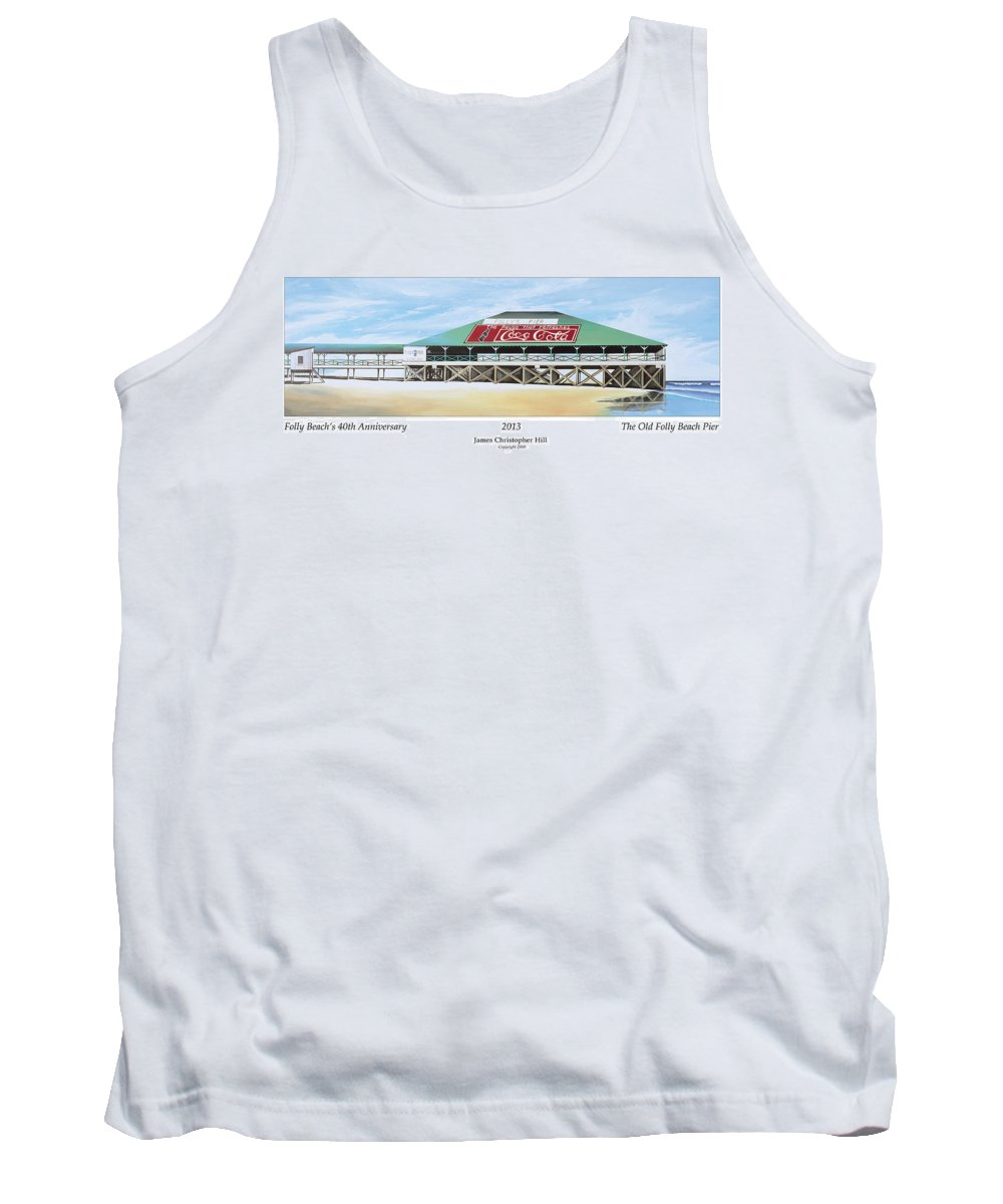 Sunrise Tank Top featuring the painting Folly Beach Original Pier by James Christopher Hill