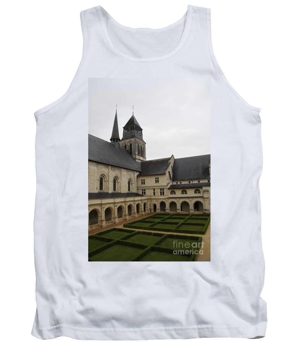 Cloister Tank Top featuring the photograph Fontevraud Abbey Courtyard - France by Christiane Schulze Art And Photography