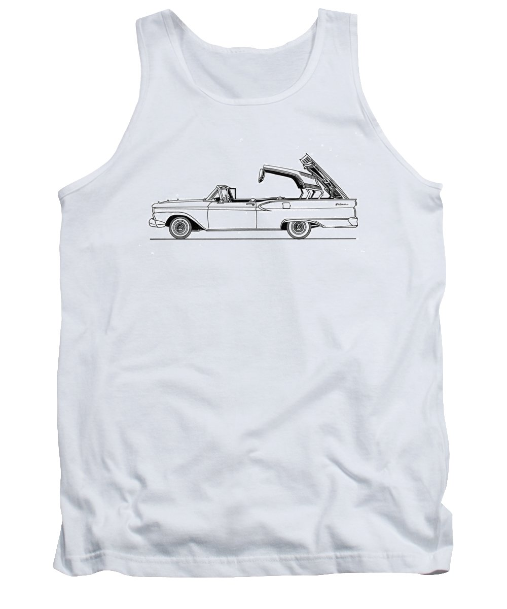 The 1959 Ford Fairlane 500 Skyliner Is A Full-size Two-door Automobile With A Retractable Hardtop Which Was Produced By Ford For The Model Years 1957 Tank Top featuring the drawing Retractable Ford Top Going Down by Jack Pumphrey