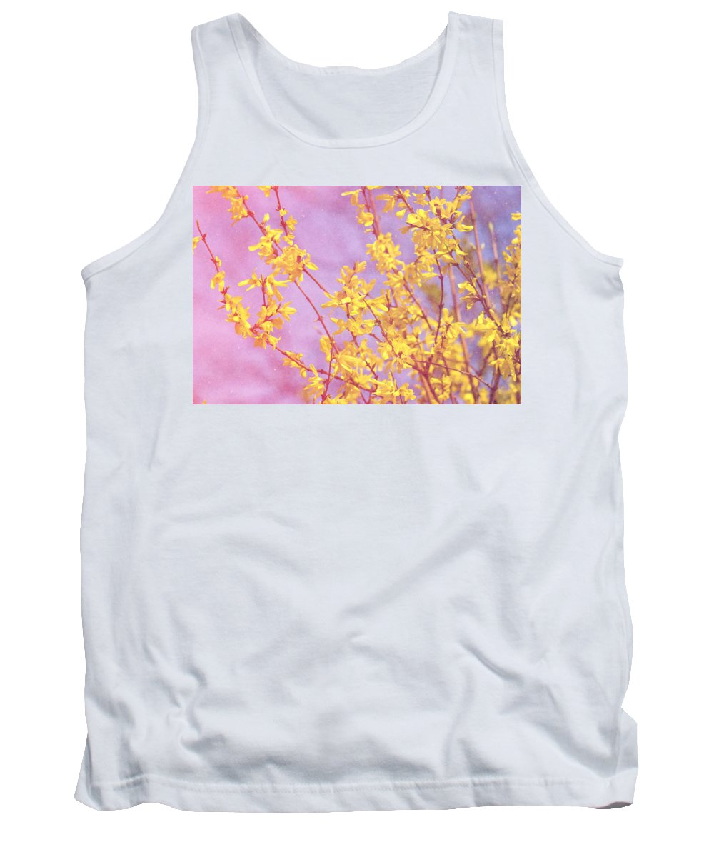 Pink Tank Top featuring the photograph Forsythia by Pati Photography