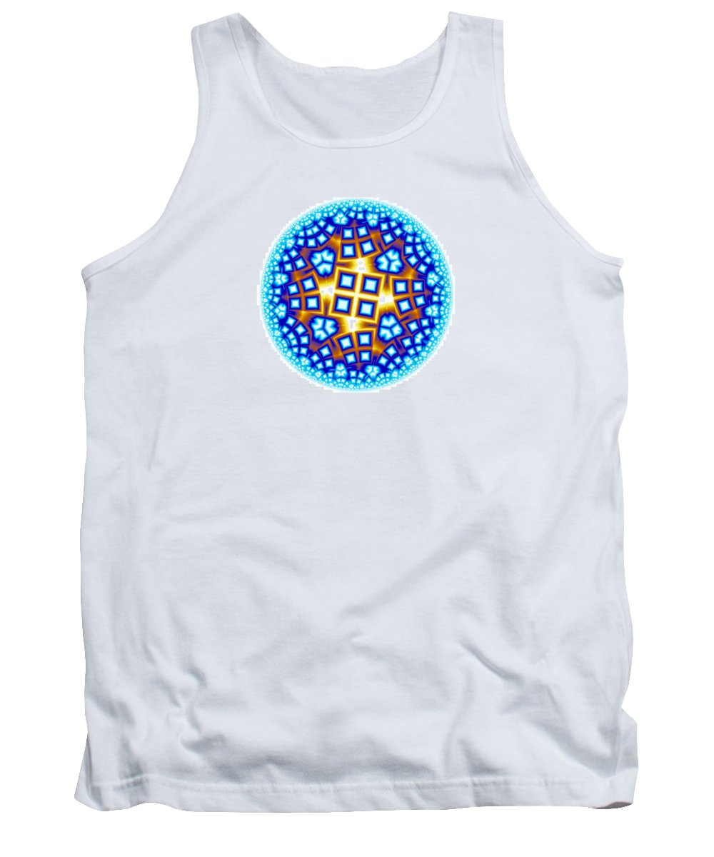 Mandala Tank Top featuring the digital art Fractal Escheresque Winter Mandala 9 by Hakon Soreide