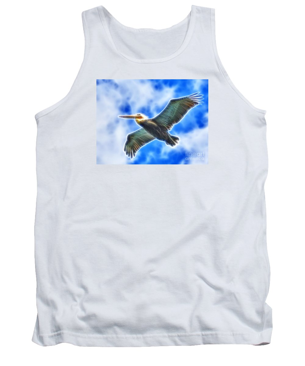 Artistic Tank Top featuring the photograph Fractal Pelican Flight by Beth Sargent
