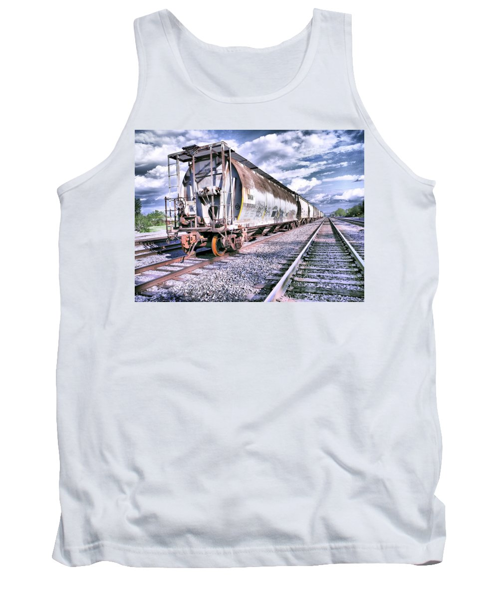 White Tank Top featuring the photograph Graffiti Train by Ray Summers Photography