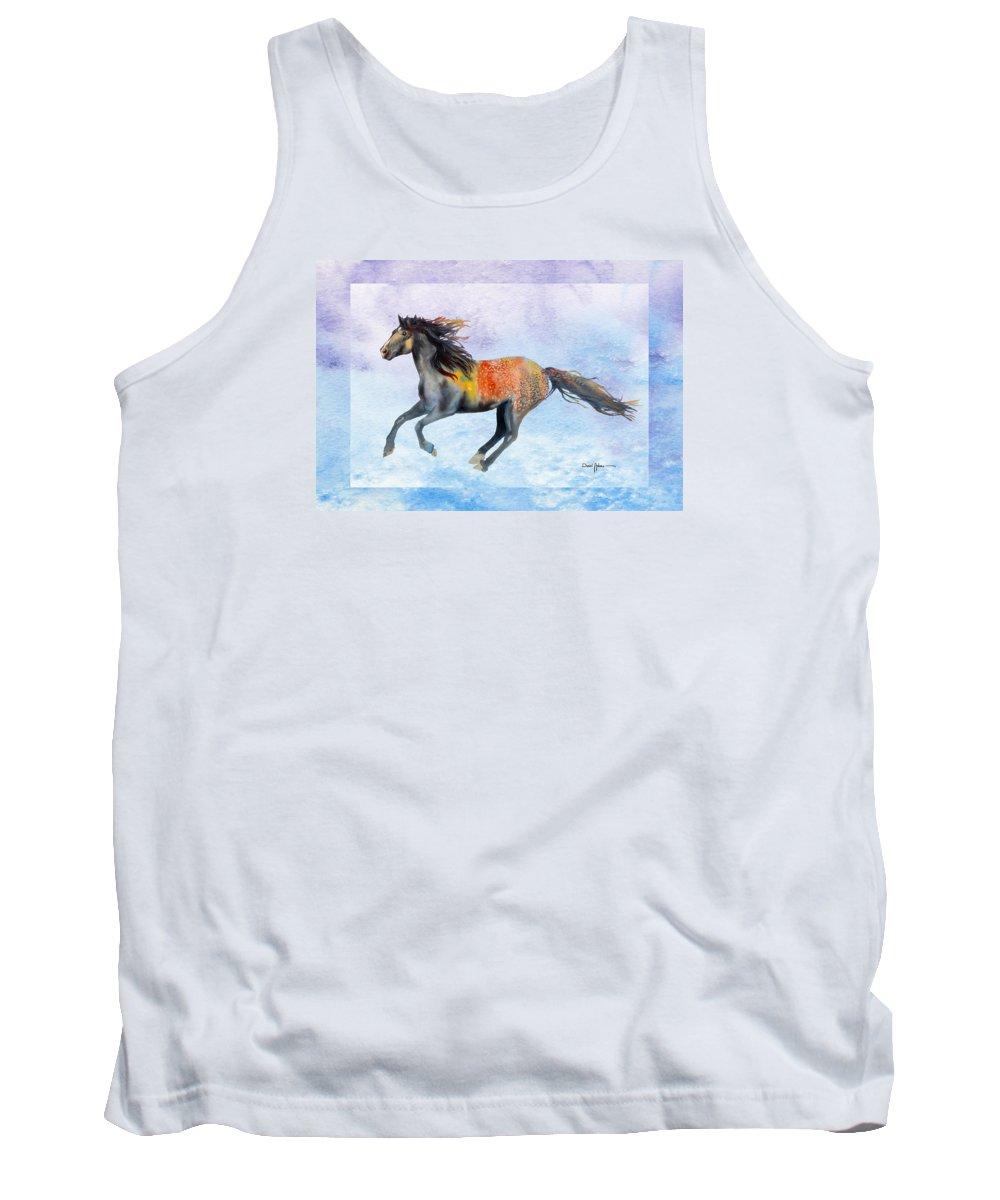 Horse Tank Top featuring the painting Da114 Free Gallop By Daniel Adams by Daniel Adams