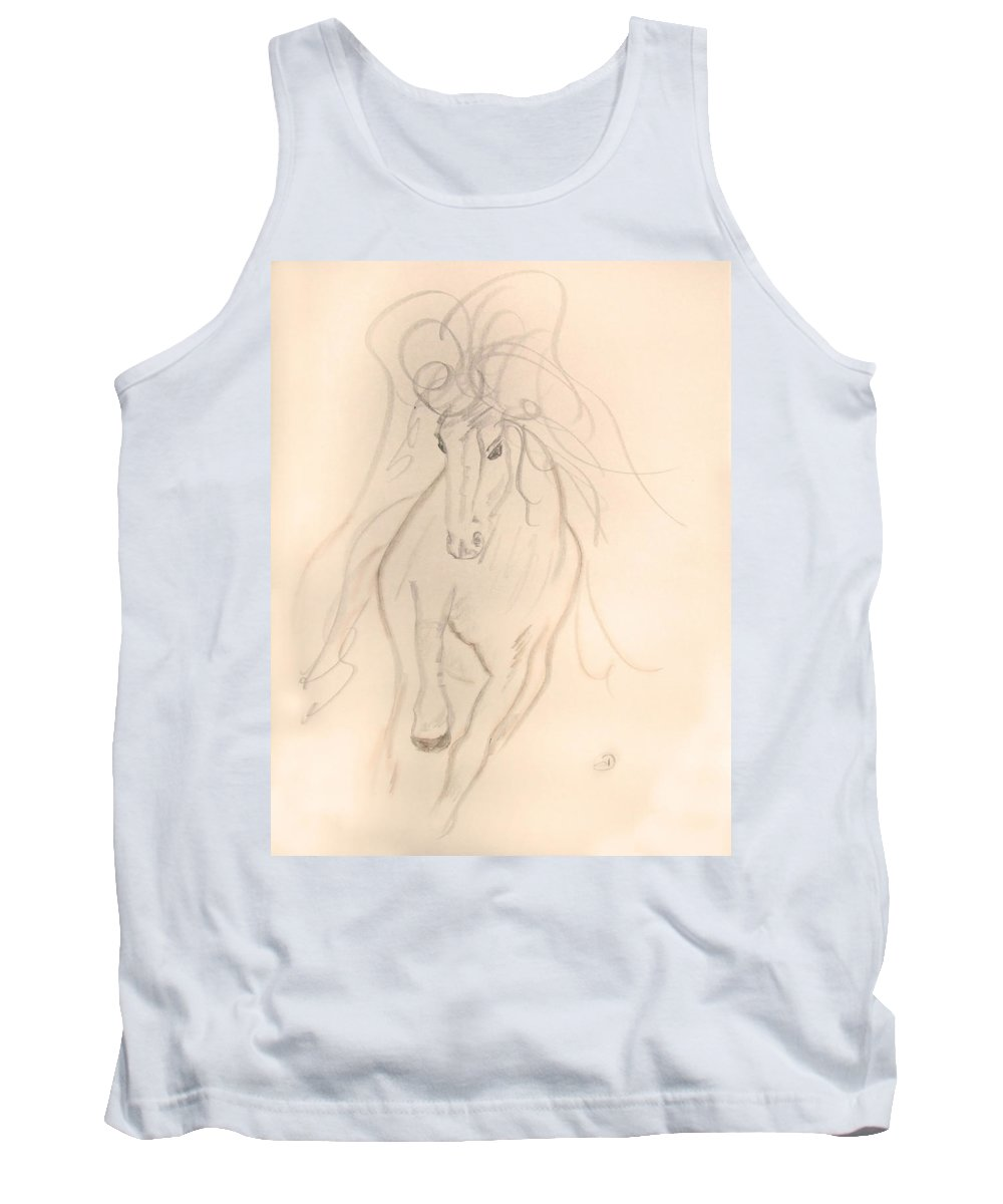 Horse Tank Top featuring the drawing Freedom To Run by Donna Blackhall