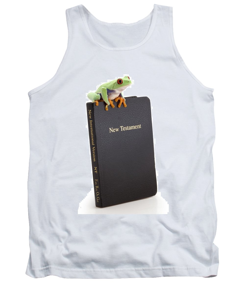 Bible Tank Top featuring the photograph Frog Sitting On A Bible by Corey Hochachka