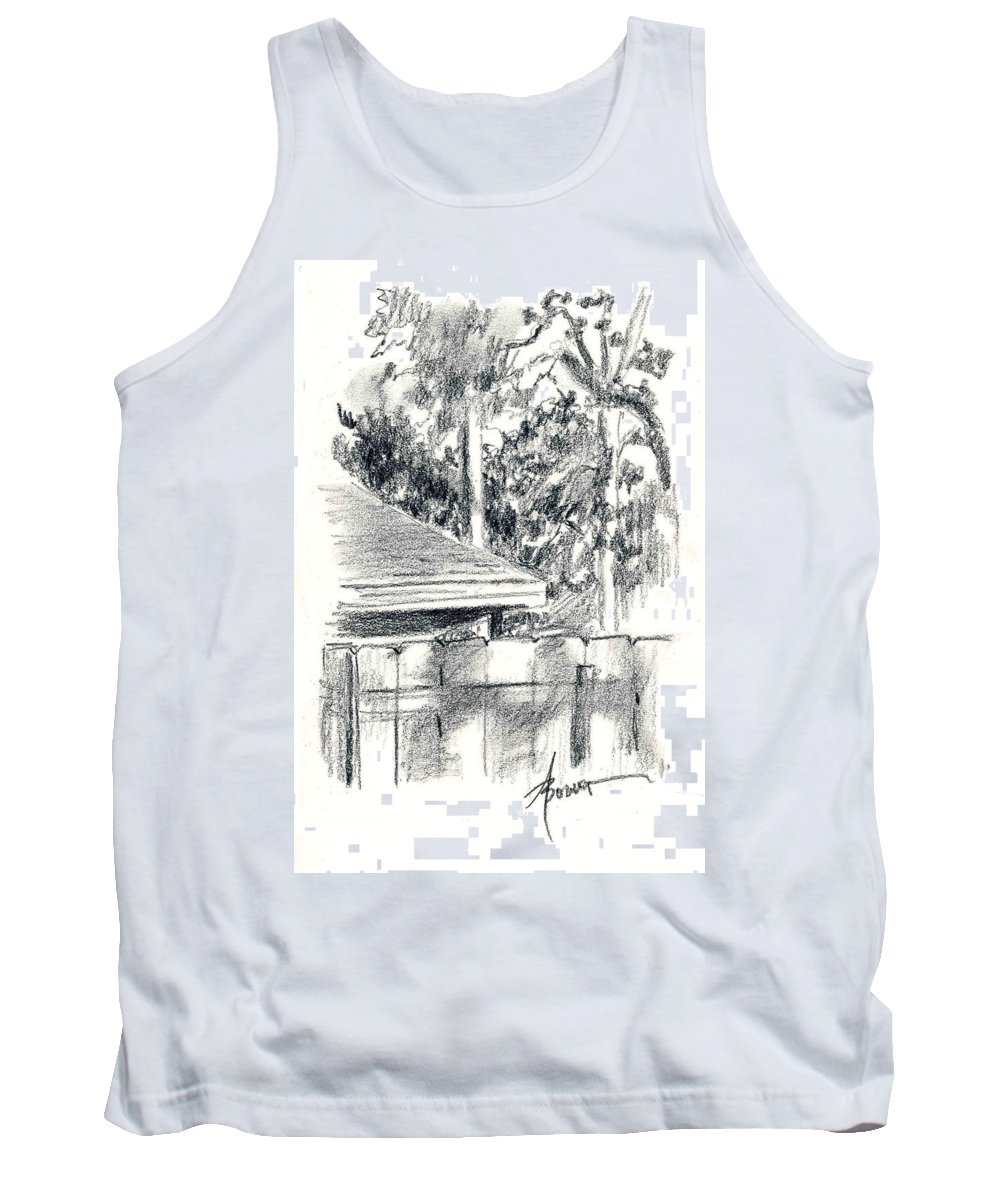 Trees Tank Top featuring the painting From The Breakfast Room Window by Adele Bower