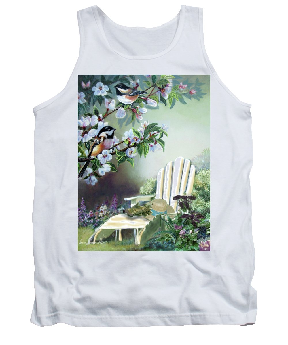 Garden Scene Tank Top featuring the painting Chickadees In Blossom Tree by Regina Femrite