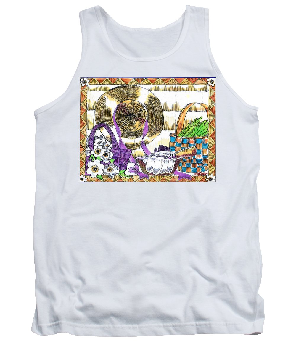 Gardener's Basket Tank Top featuring the drawing Gardener's Basket by Seth Weaver