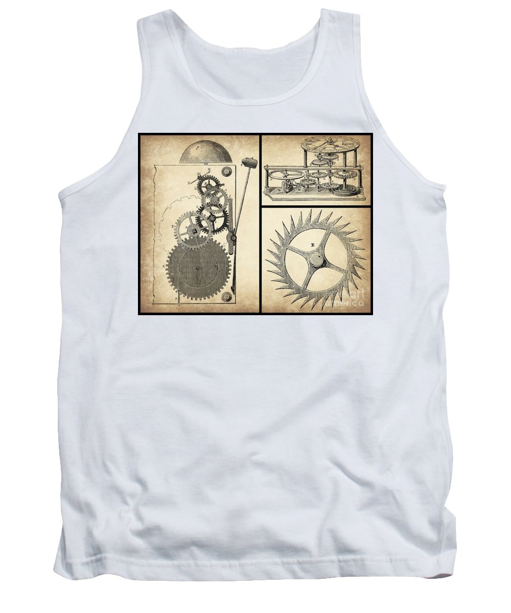 Gears Tank Top featuring the digital art Gears Industrial Or Steampunk Collage Art by Tricia CastlesNcrowns