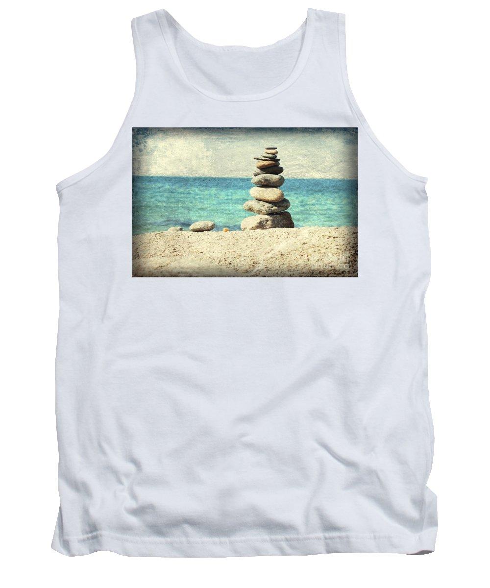 Rocks Tank Top featuring the photograph Gentle Sea Breeze by Carol Groenen