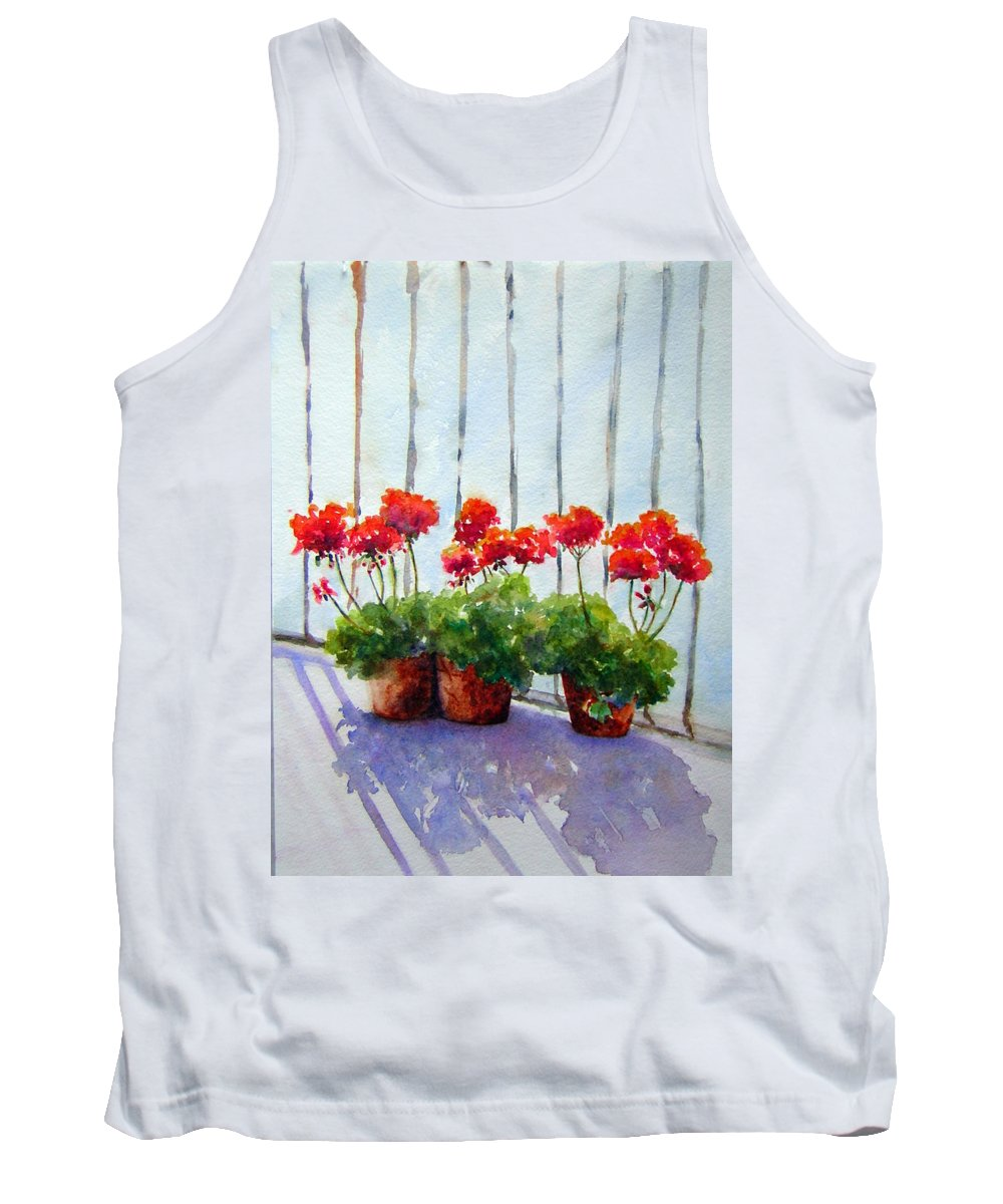 Red Geraniums Tank Top featuring the painting Geraniums On My Balcony by Toni Ciantar-Poole