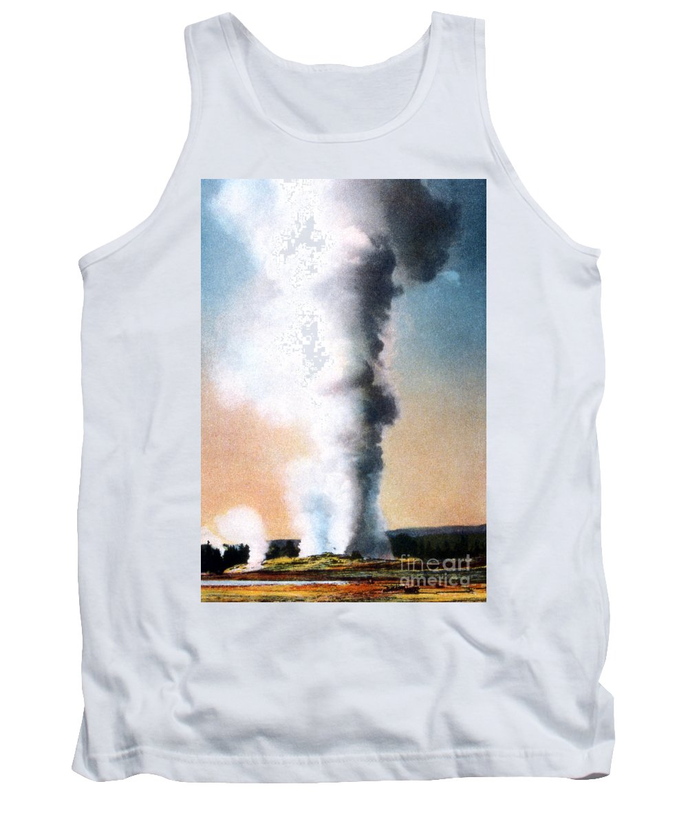 Giant Geyser Tank Top featuring the photograph Giant Geyser Yellowstone Np by NPS Photo Frank J Haynes