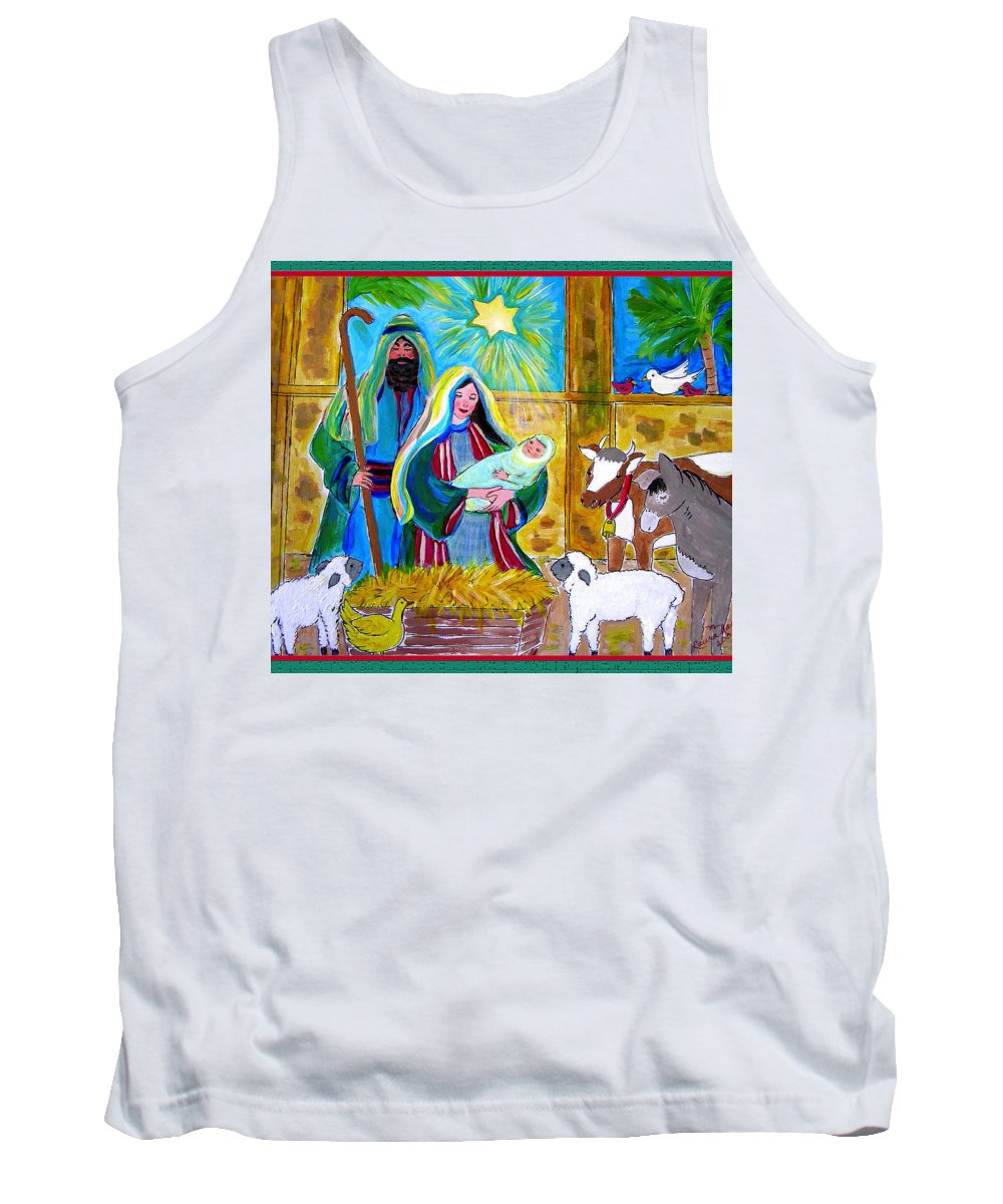 Nativity Tank Top featuring the painting Gift Of God by Laura Nance