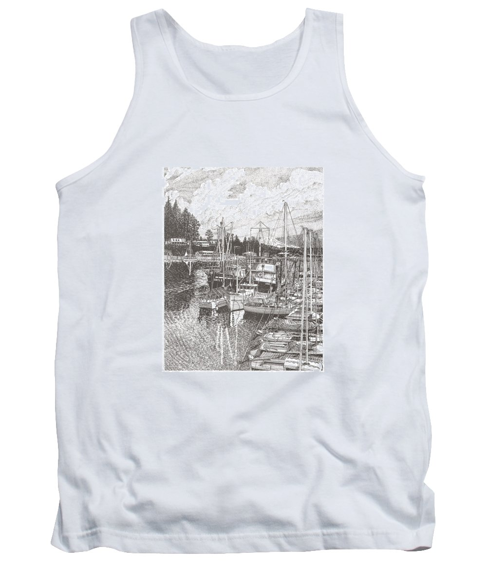 Yacht Portraits Tank Top featuring the drawing Gig Harbor Entrance by Jack Pumphrey