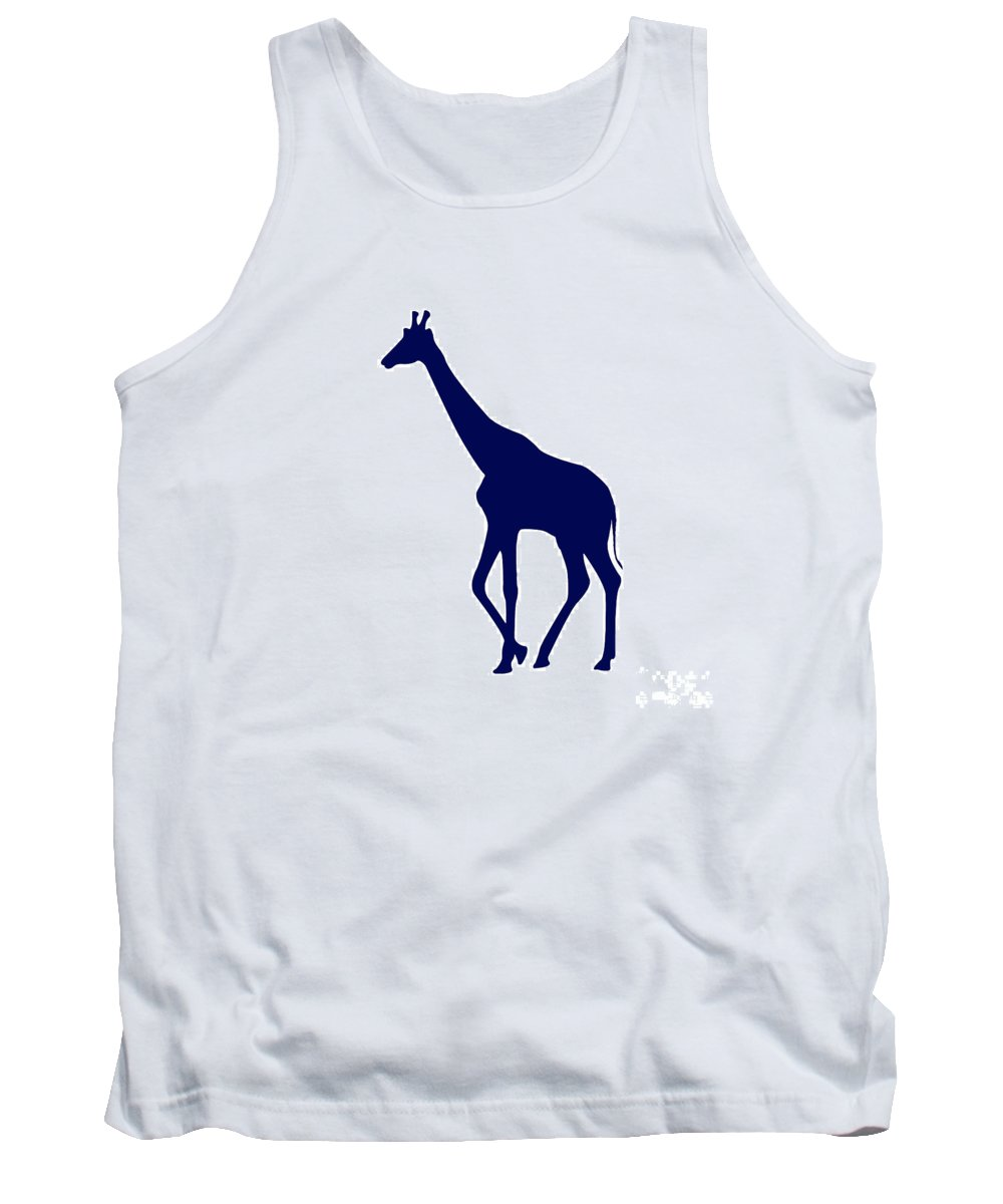 Graphic Art Tank Top featuring the digital art Giraffe In Navy And White by Jackie Farnsworth