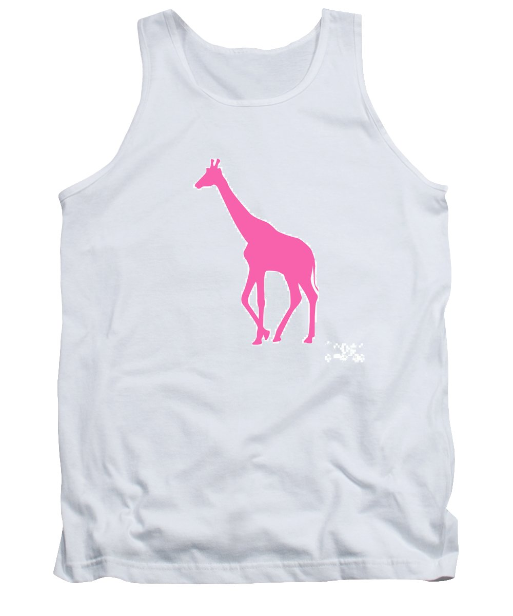 Graphic Art Tank Top featuring the digital art Giraffe In Pink by Jackie Farnsworth