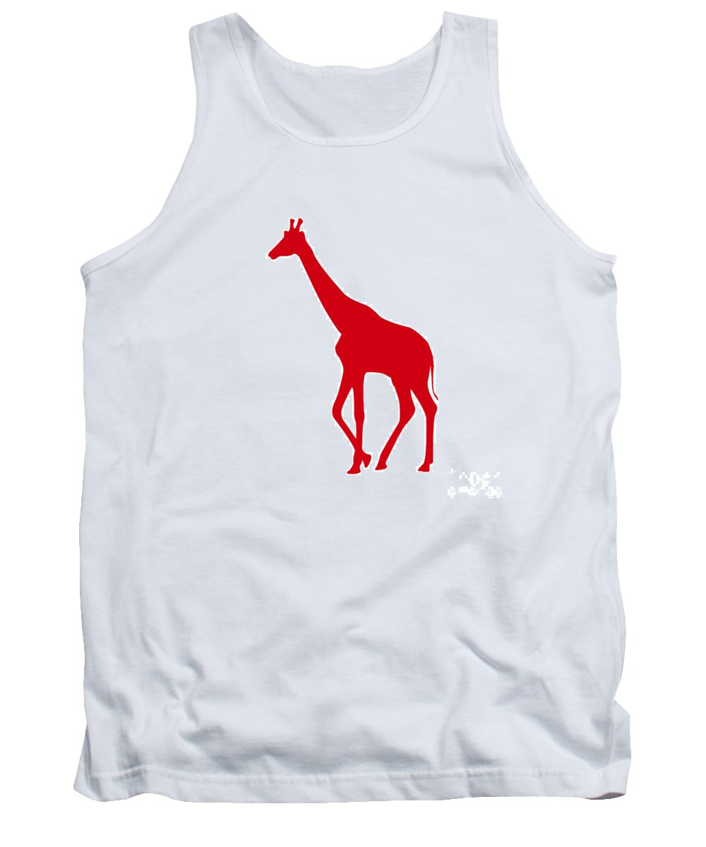 Graphic Art Tank Top featuring the digital art Giraffe In Red And White by Jackie Farnsworth