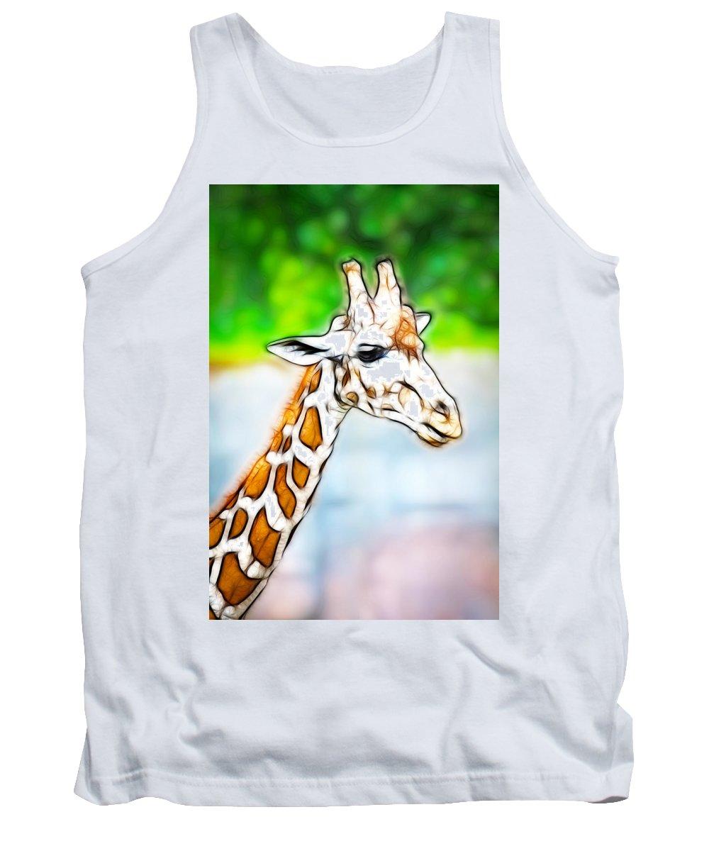 Giraffe Tank Top featuring the photograph Giraffe Scrimshaw by Steve McKinzie
