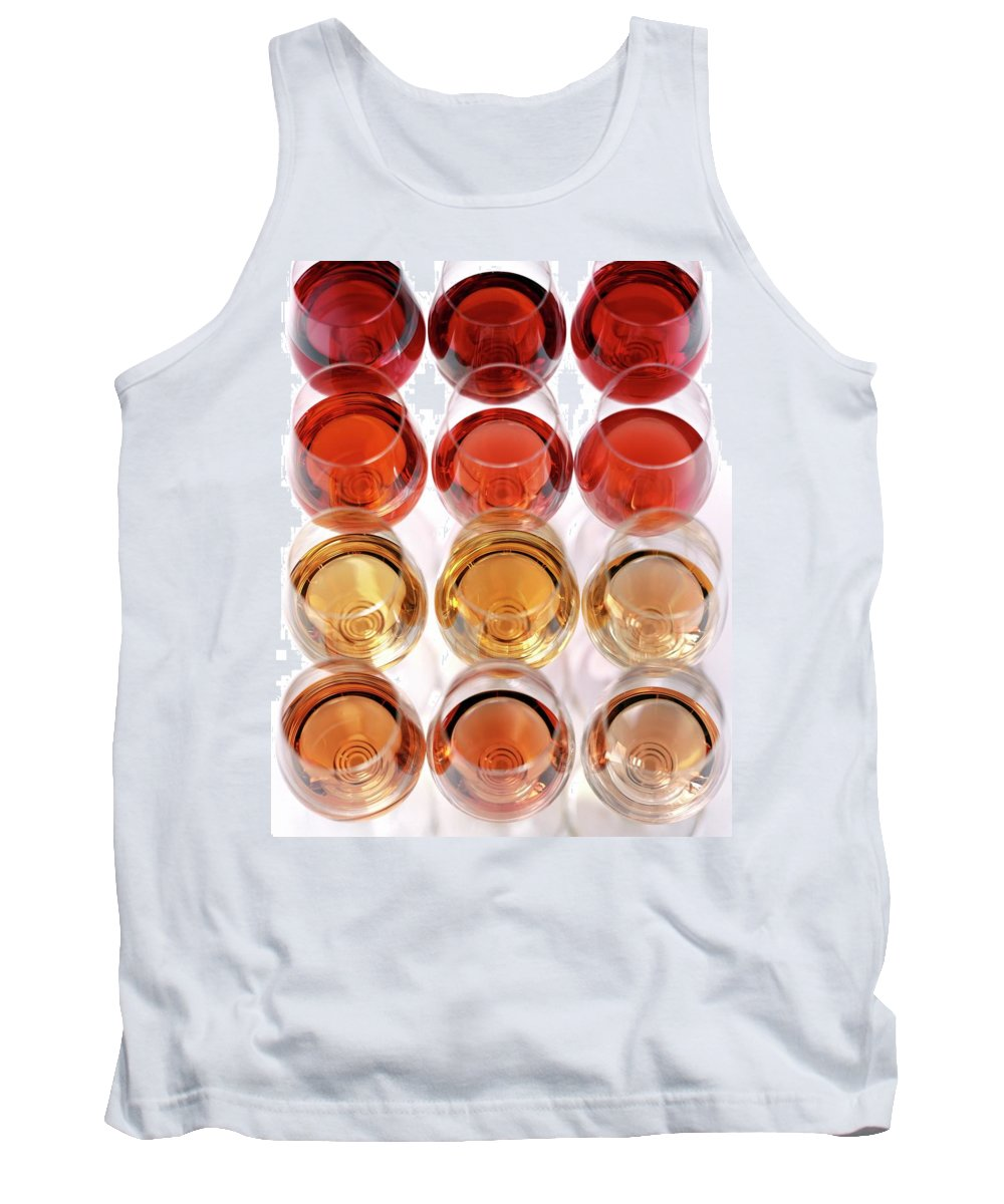 Food Tank Top featuring the photograph Glasses Of Rose Wine by Romulo Yanes