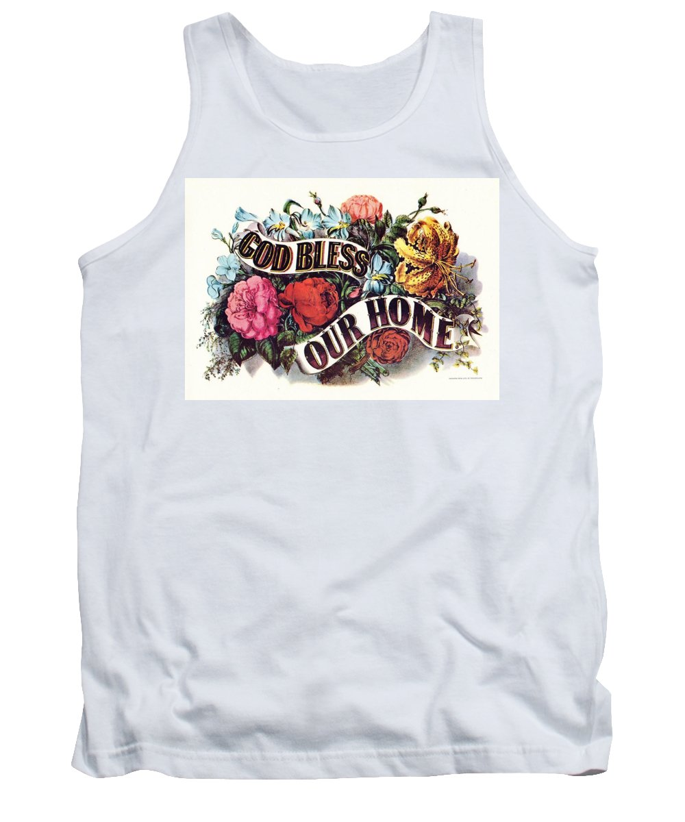Currier & Ives Tank Top featuring the digital art God Bless Our Home by Currier and Ives