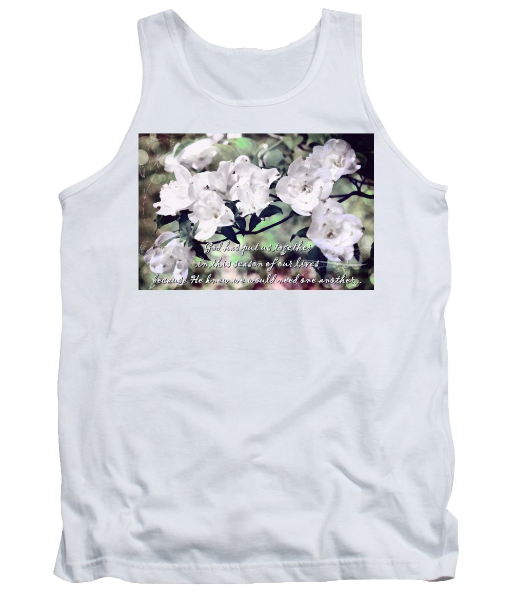 Jesus Tank Top featuring the digital art God Has Put Us Together by Michelle Greene Wheeler