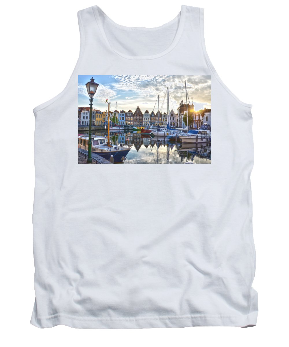 Netherlands Tank Top featuring the photograph Goes Harbour by Frans Blok
