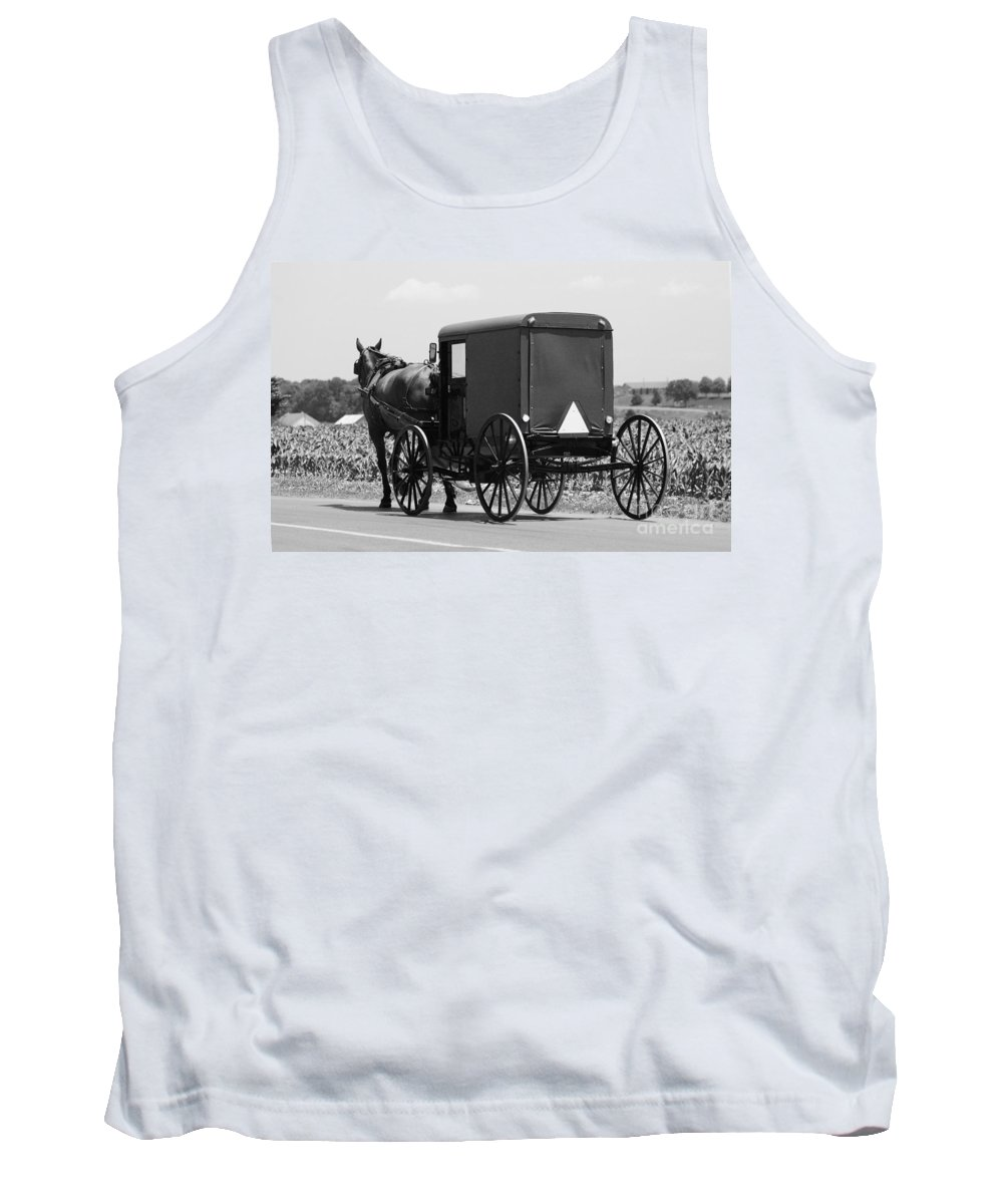 Amish Tank Top featuring the photograph Going Buggy by Cindy Manero
