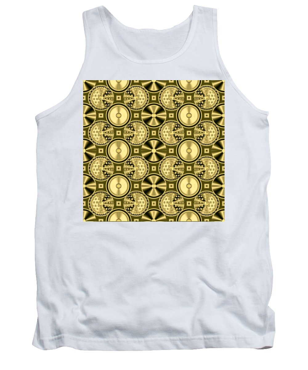 Gleaming Gold Tank Top featuring the digital art Gold Metallic 16 by Patricia Keith