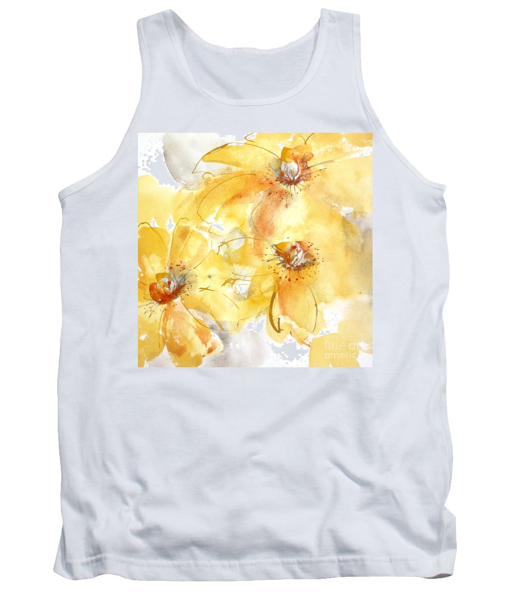 Original Watercolors Tank Top featuring the painting Golden Clematis 2 by Chris Paschke