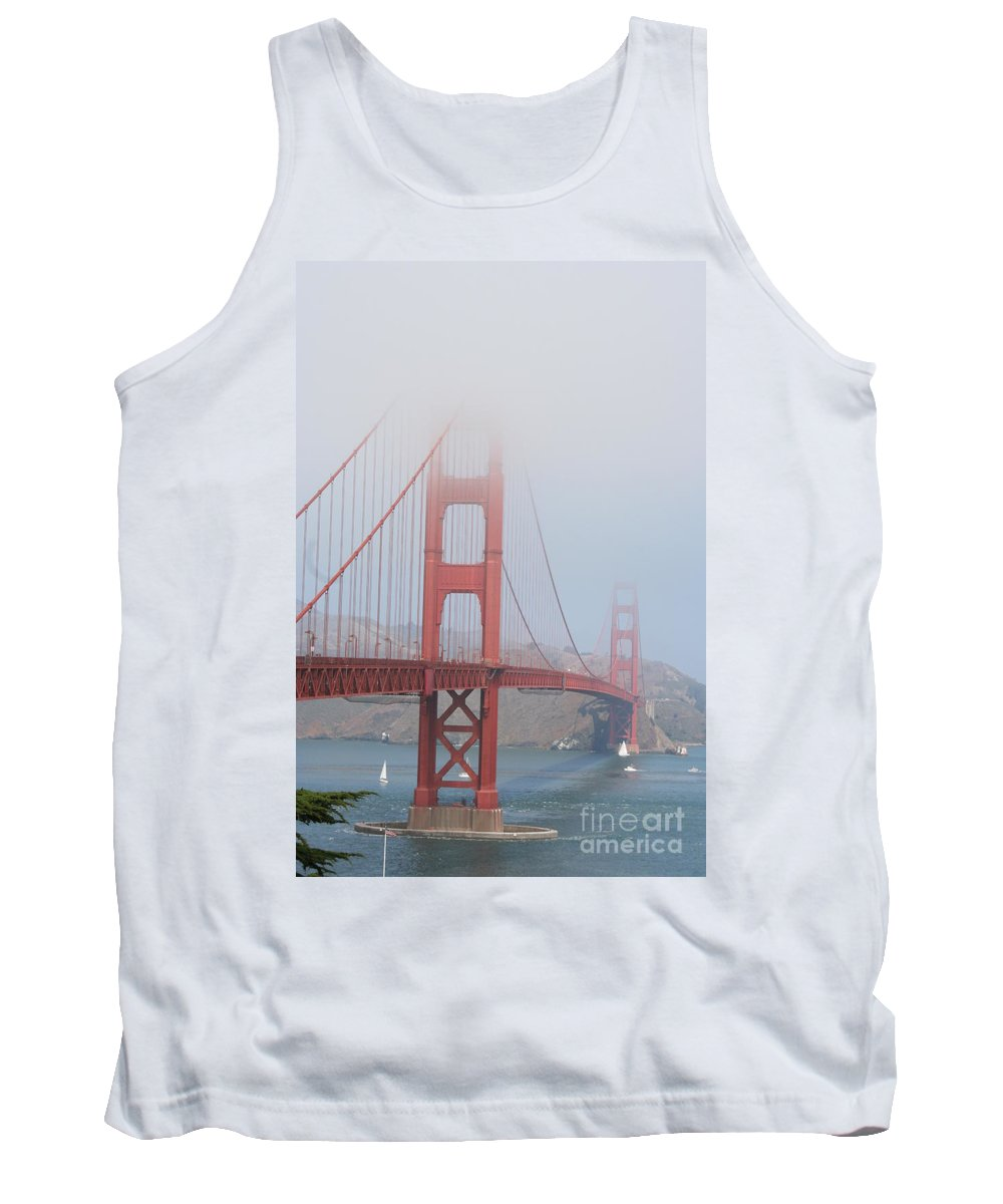 Bridge Tank Top featuring the photograph Golden Gate Bridge In Fog by Christiane Schulze Art And Photography