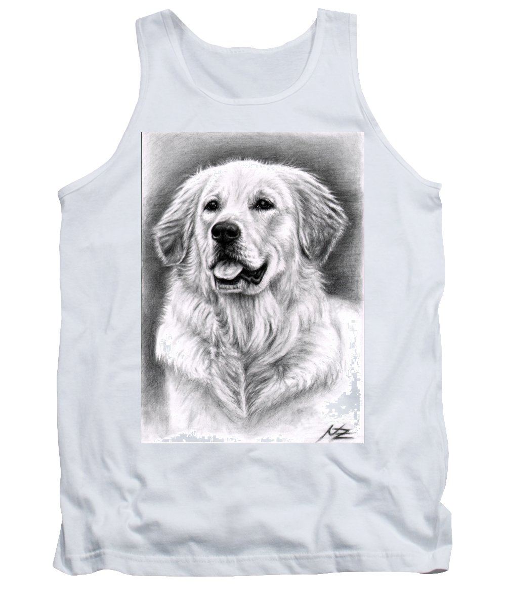 Dog Tank Top featuring the drawing Golden Retriever Spence by Nicole Zeug