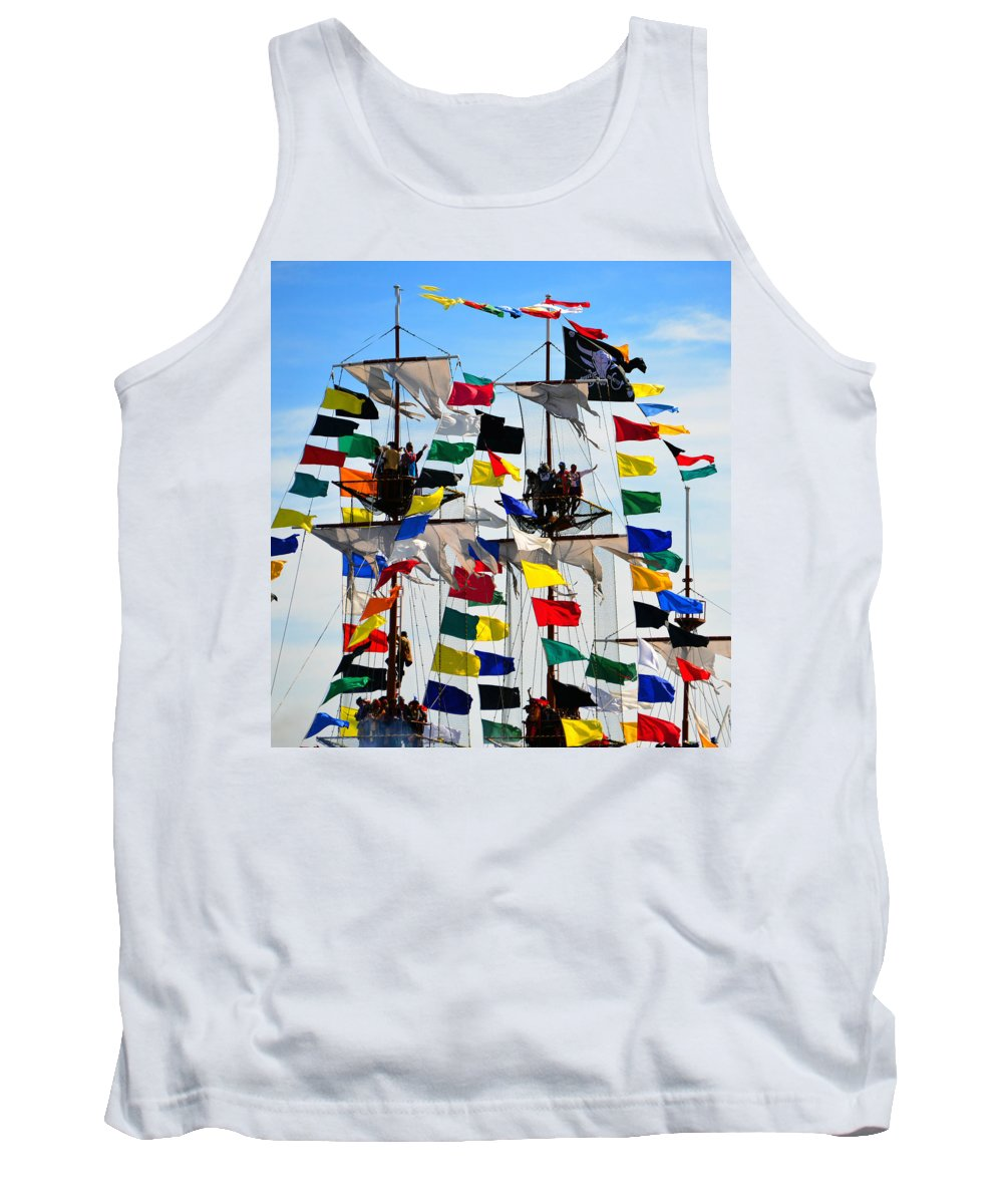 Gasparilla Pirate Festival Tampa Florida Tank Top featuring the photograph Pirates Up High by David Lee Thompson