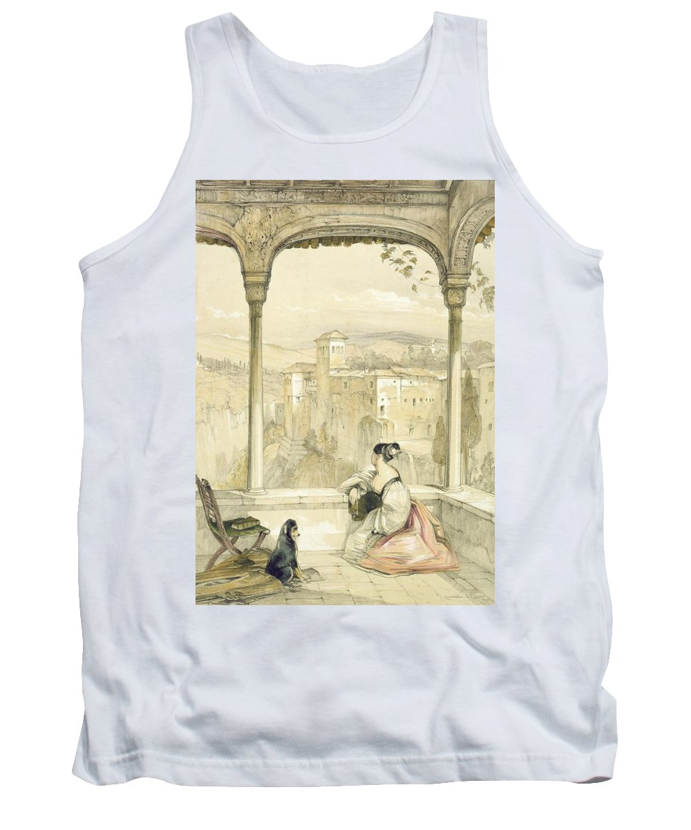 Arch Tank Top featuring the drawing Granada , Plate 9 From Sketches by John Frederick Lewis