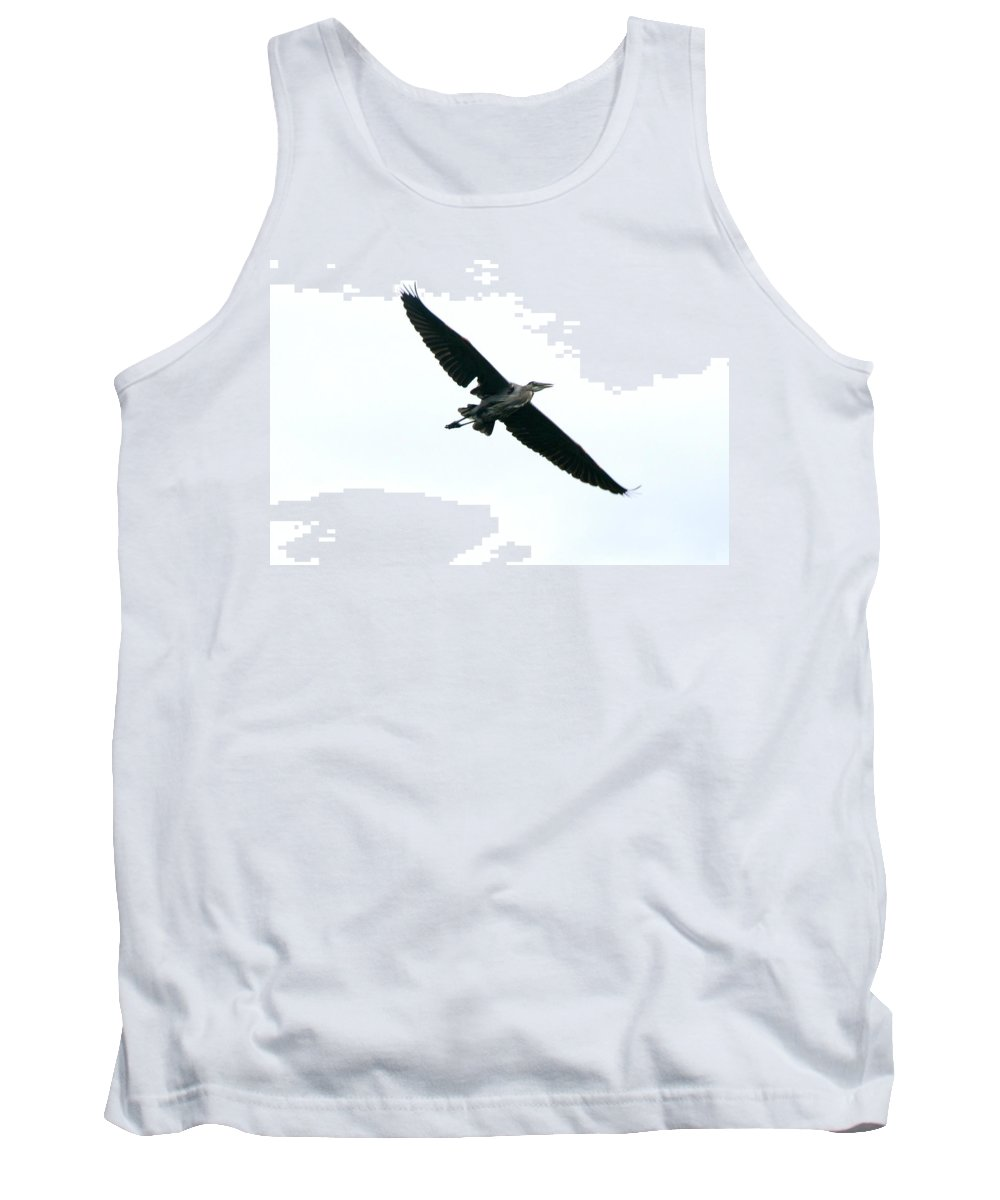 Great Blue Heron Tank Top featuring the photograph Great Blue Heron River Flight by Neal Eslinger