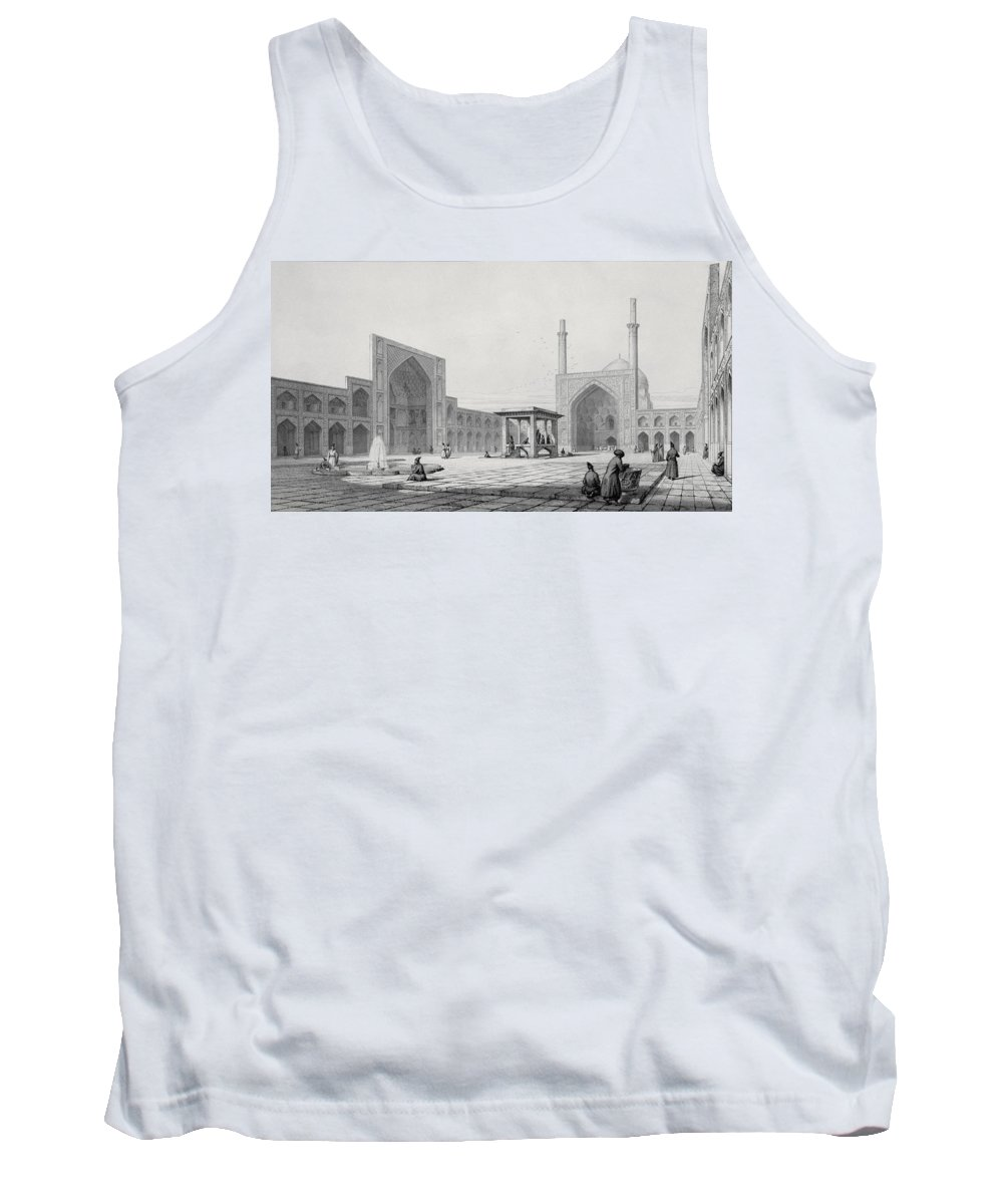 Masjid-i-jomeh Tank Top featuring the drawing Great Friday Mosque In Isfahan by Pascal Xavier Coste