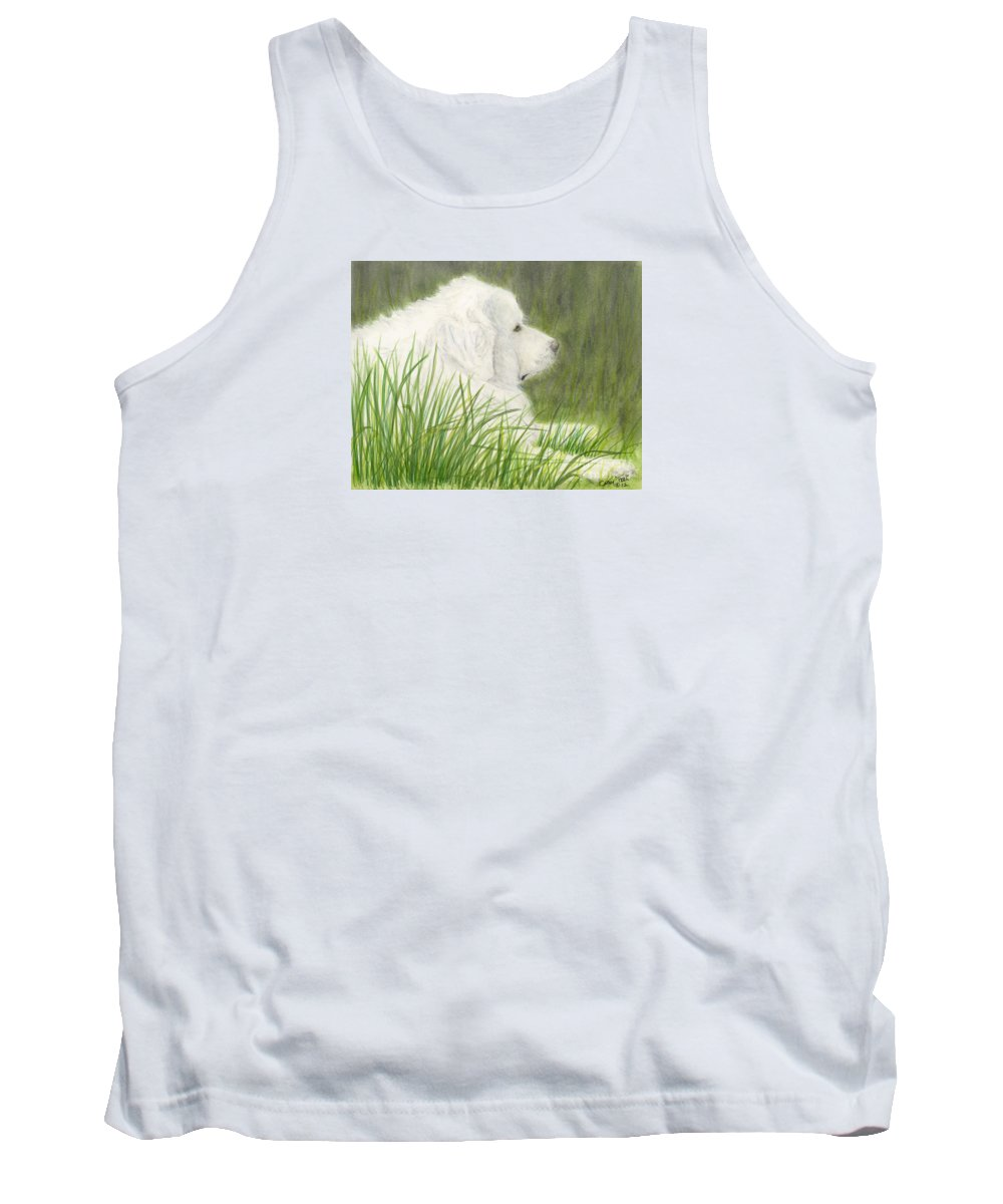Great Tank Top featuring the painting Great Pyrenees Dog In Grass Animal Pets Canine Art by Cathy Peek
