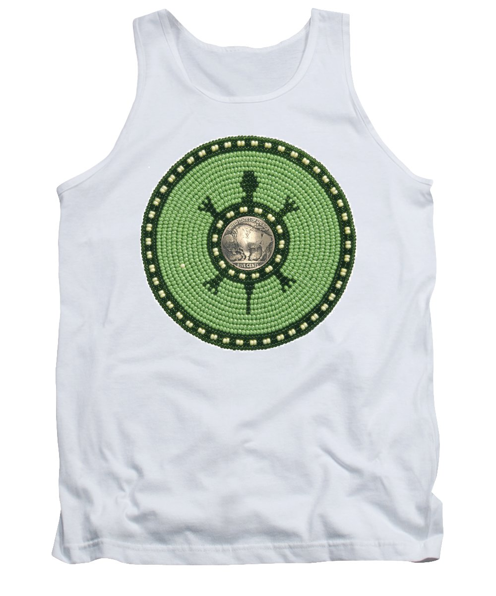Beadwork Tank Top featuring the mixed media Green Buffalo Turtle by Douglas K Limon
