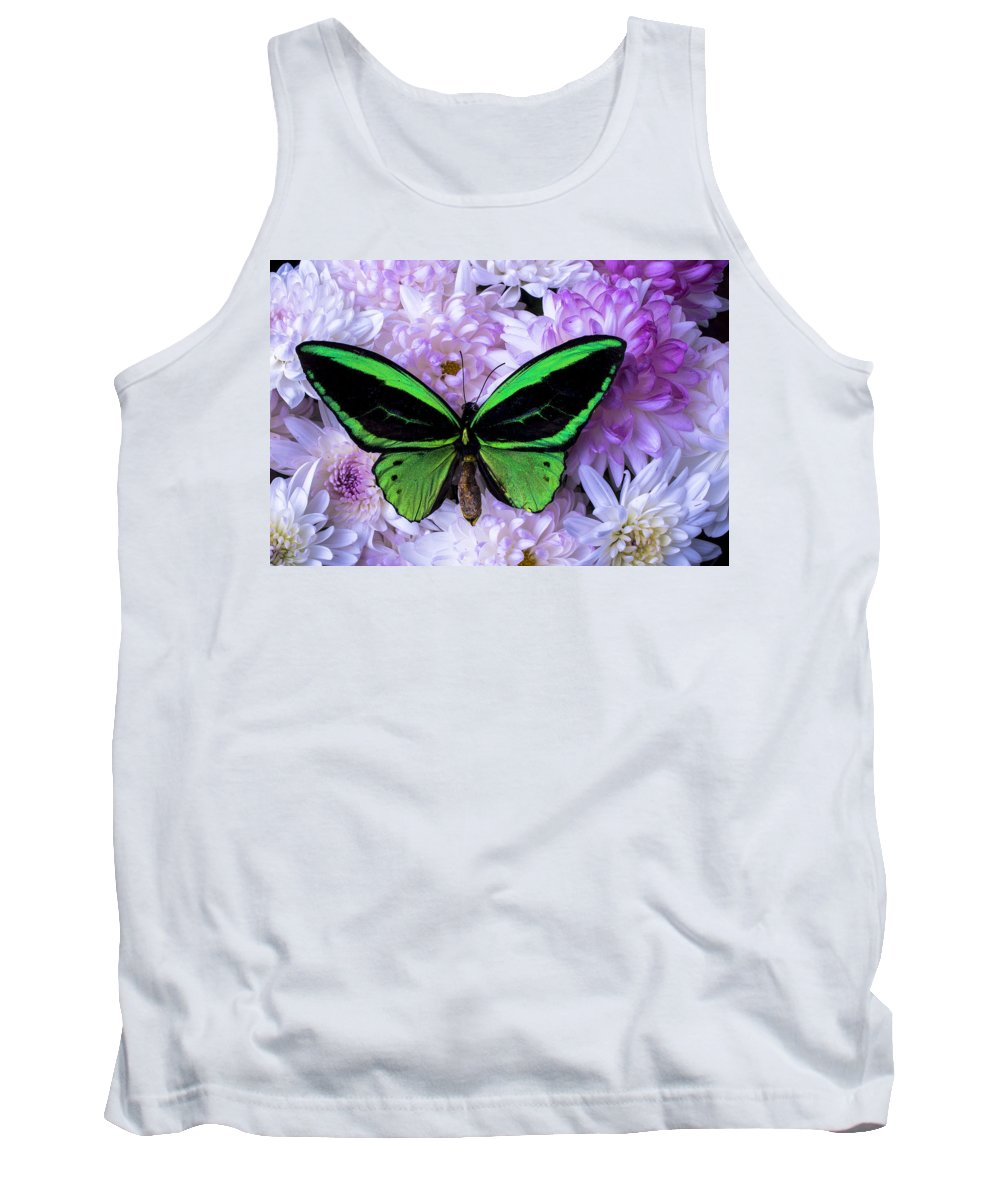 Green Tank Top featuring the photograph Green Butterfly And Mums by Garry Gay
