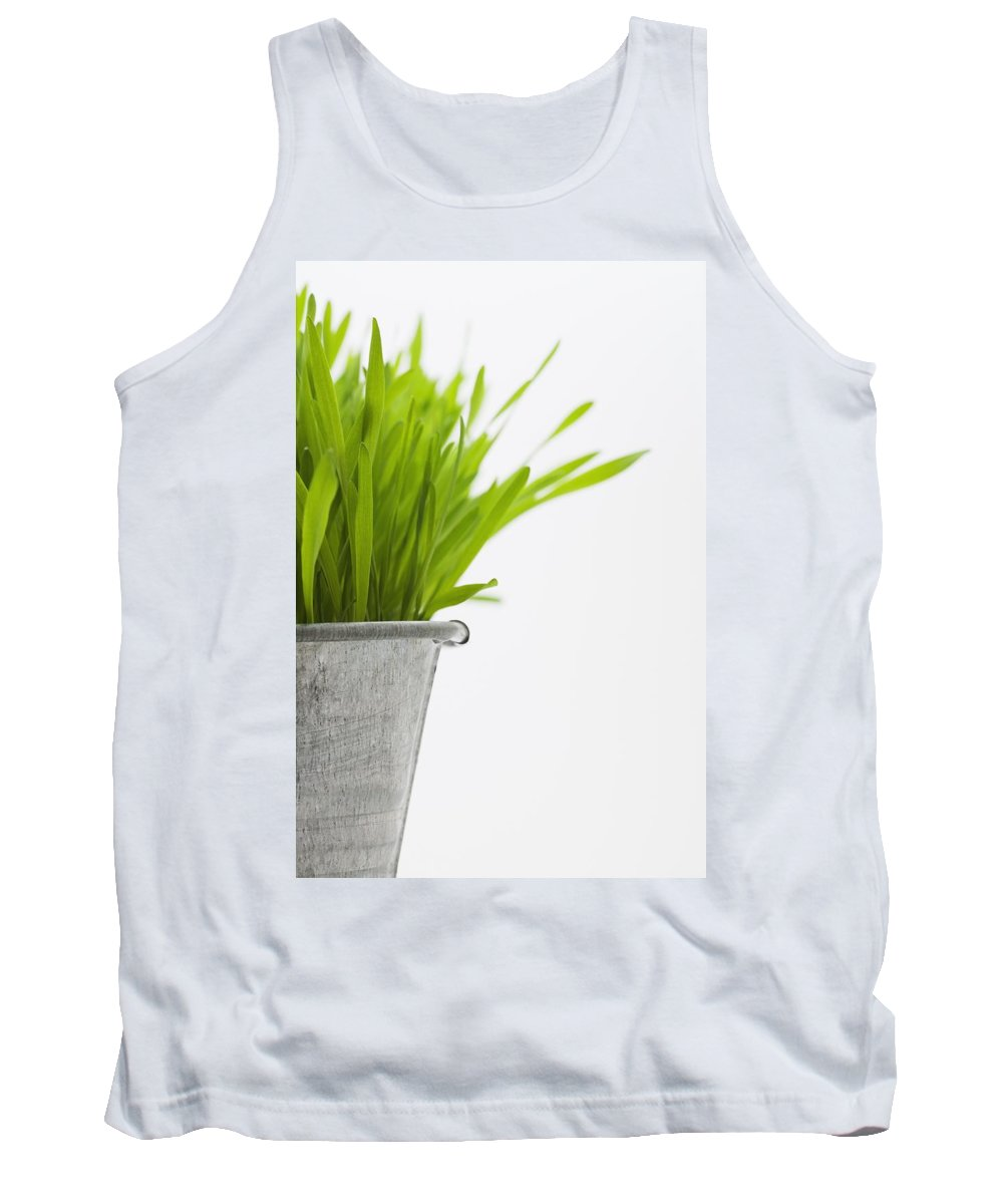 Copy-space Tank Top featuring the photograph Green Grass In A Pot by Steven Raniszewski